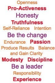 Openness Pro-Activeness Honesty Truthfulness Self-Reliance Intention Be the change Endurance Passion Produce Results Balance and Gain Clarity Modesty Discipline Be a leader Responsibility Experience